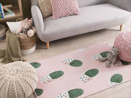 teppich eldivan kaktus muster rosa 80x150 cm ch