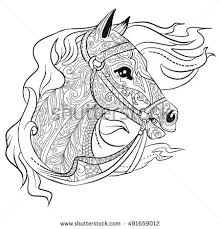 Hand Drawn Doodle Horse Head Illustration For Adult Coloring Book Animal Page