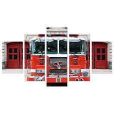 Firetruck Engine 5 Piece Canvas Wall Art – Vigor And Whim