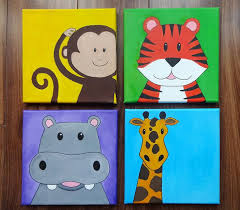 Set Of Four Hand Drawn And Painted 20x20cm Animal Canvases GBP50 Diy Canvas ArtKids