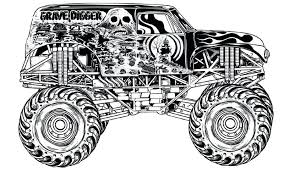 Coloring Pages Trucks Grave Digger Monster Truck Printable Free Inside 1