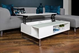 table basse design réglable en hauteur bois laqué blanc et verre