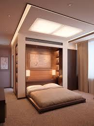 plattform bett braun schlafzimmer abgehängte decke led
