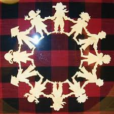 Wendy Wubbels Framed Scherenschnitte Paper Cutting World Children Holding Hands