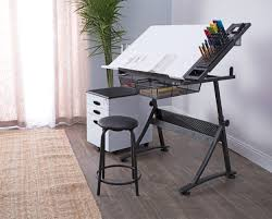 100 Studio Designs Fusion Height Adjustable Drafting Table And Chair Set