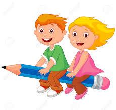 Cartoon Boy And Girl Flying On A Pencil Stock Vector