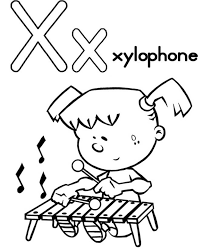 X Is For Xylophone Alphabet Coloring Pages