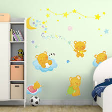 Kids Bedroom Background Decoration Bear Moon Lovely Wall Stickers