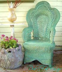 Green Wicker Furniture Outdoor With Cushions Patio Vintage