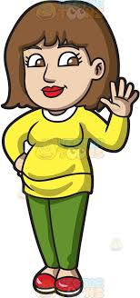 A pregnant woman waving hello