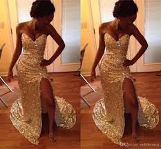 2017 new sparkly gold sequins mermaid prom dresses sweetheart