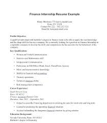 Finance Internship Resume Template Summer Objective Accounting For Ideas