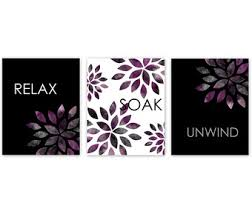 Bathroom Wall Art Relax Soak Unwind Abstract Prints Set Of 3 Home Decor Purple