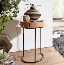 beistelltisch akola massiv holz akazie wohnzimmer tisch metallbeine landhaus stil baumstamm form echt holz natur möbel und schönes