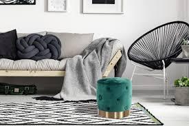 pouf sitzhocker sitzpouf rund gesteppt samt gold dekoration