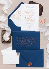 Copper Foil And Navy Calligraphy Wedding Invitations