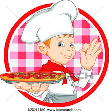 Boy Chef Cartoon Holding Pizza Illustration