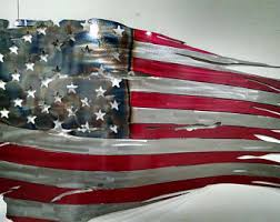 American Flag Rustic Wall Hanging Metal Worn Old Glory