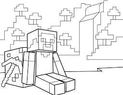 Minecraft Coloring Pages Combined With Of Diamond Armor Download For