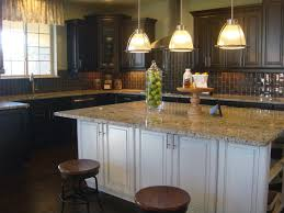 Exciting Espresso Kitchen Cabinets For Your Remodeling Ideas Unique Triple Pendant Glass Lamps Over White Wooden Island With Gray Mosaic
