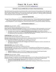 Telecommunications Resume Sample