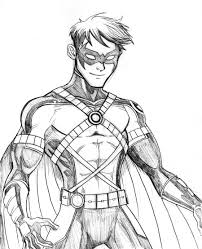 Red Robin Batman Drawings Sketch Coloring Page