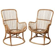Vintage Banana Rocking Chair by Pair Of Vintage Rattan Chairs At 1stdibs