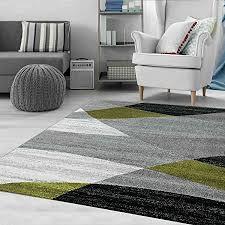 vimoda teppich geometrisches muster meliert in grau weiß schwarz und grün maße 60x110 cm