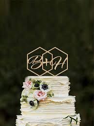 Geometric Wedding Cake Topper Initials Hexagon Modern