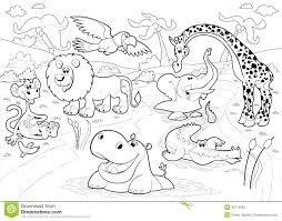 African Animals In The Jungle In Black And White Stock Vector