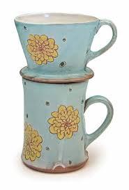 Pourover Coffee Set Earthenware White Slip Under Glaze Sgraffito Decoration Fired To Cone 03