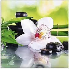 artland glasbilder wandbild glas bild einteilig 20x20 cm quadratisch asien wellness zen spa blumen blüten orchideen pflanze steine bambus t9iq