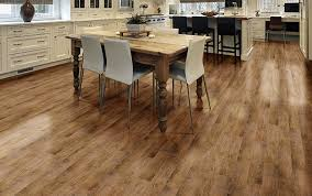 Laminate Wood Vinyl Flooring Rolls With White Kitchen Cabinet And Large Wooden Dining Table Also