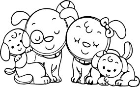 Animal Dog Family Coloring Page