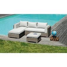 canap salon de jardin ensemble jardin de canapé méridienne en alu tressage gris clair