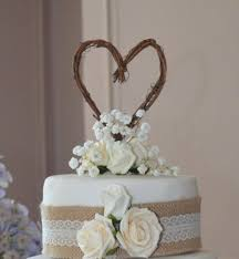 Engagement Party Fall Wedding Decor Rustic Heart Cake Topper