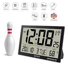 quigo große wanduhr digital funk tischuhr mit temperaturanzeige alarm batteriebetrieben radio wohnzimmer schlafzimmer werkstattuhr schwarz