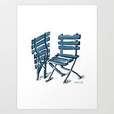 Twin Chairs In Blue Art Print