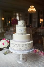 White Wedding Cake with Silver Piping