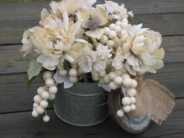 Rustic Ivory Centerpiece Shabby Chic Floral Arrangement Silk Flowers Sparkly Grape Clusters In Rusty Tin Container Wedding