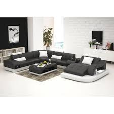 canapé angle 8 places canapé d angle panoramique en cuir almeria table intégrée éclairag