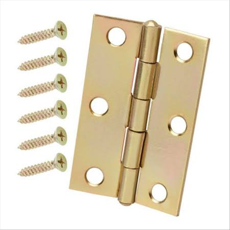 "Tuff Stuff 86730 Polished Brass Plated 3"" Loose Pin Utility Hinge with Screws (1 Hinge)"