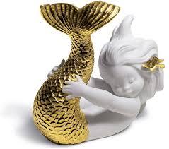 casa padrino luxus porzellan figur meerjungfrau weiß gold 12 x h 10 cm luxus wohnzimmer dekoration