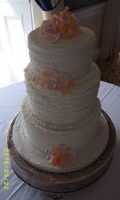 Round 3 Tier Off White Wedding Cake Rustic Royal Icing Finish With Rose And Flowers