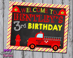 100 Fire Truck Birthday Party Truck Sign