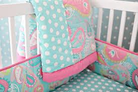 Aqua And Coral Crib Bedding by Paisley Baby Bedding Paisley Crib Bedding Aqua Baby Bedding