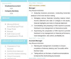 Business Resume Template Free Latest Chartered Accountant Analyst Sample Download