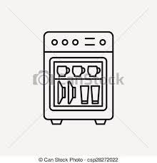 Dishwasher Line Icon Vector Illustration