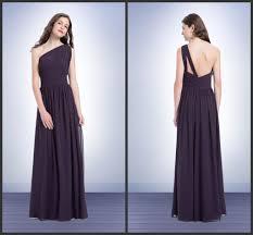 plum chiffon long bridesmaids dresses one shoulder sleeveless