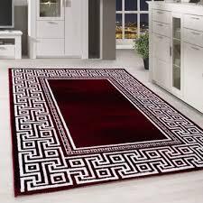 moderner kurzflor teppich griechiches muster bordüre wohnzimmer rot meliert